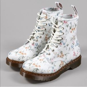 • Dr. Martens • Airwair Lace Up Floral White Boots